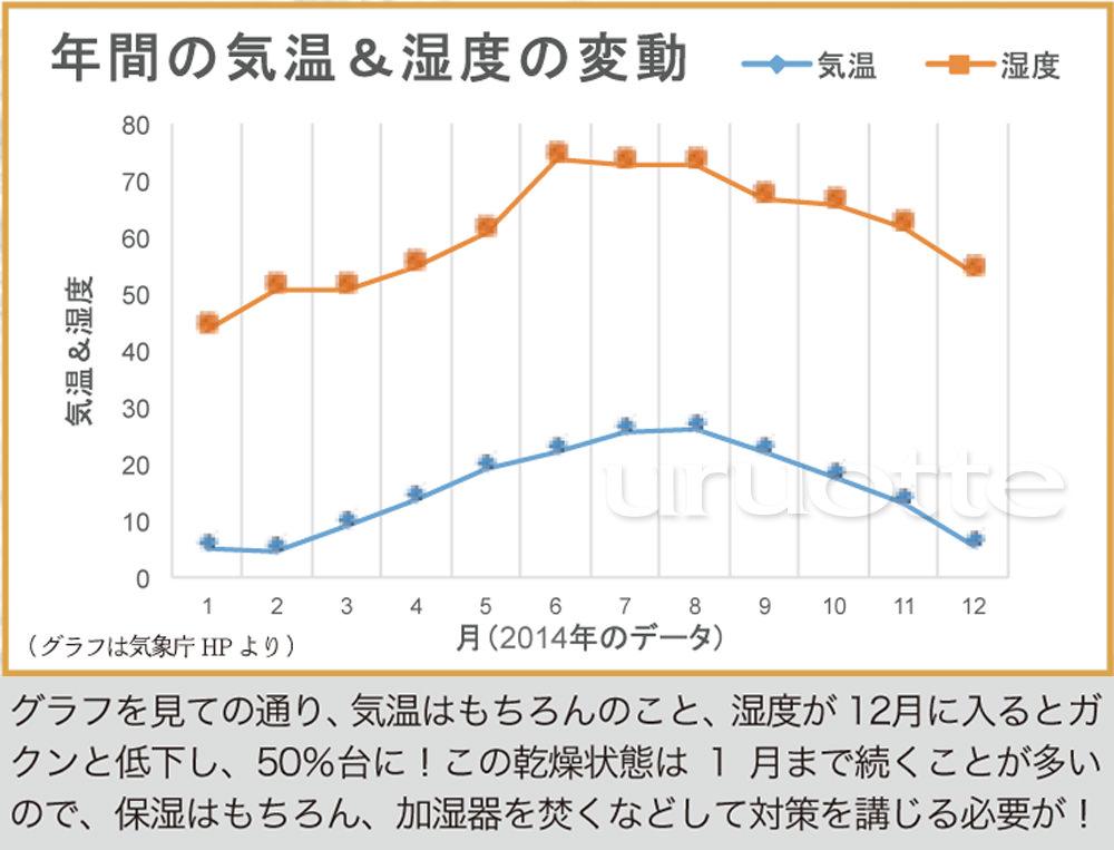 年間の気温と湿度の変化 グラフ